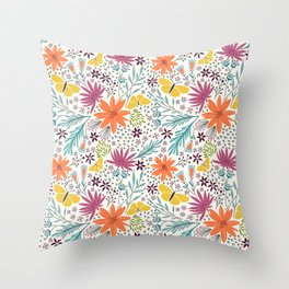 Butterflies And Pink, Yellow & Orange Floral Pattern Throw Pillow