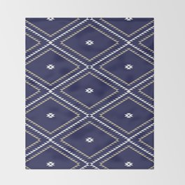 Navajo Pattern - Tan / White / Navy Throw Blanket