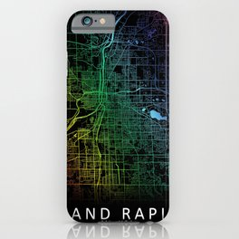 Grand Rapids, MI, USA, City, Map, Rainbow, Map, Art, Print iPhone Case