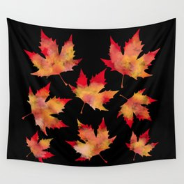 Maple leaves black Wall Tapestry
