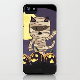 Cute Spooky Cat Mummy Jack O Lantern Pumpkin Halloween iPhone Case