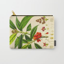 Vintage Scientific Botanical Illustration Species Drawing Himalayan Plants Green Leaves Red Berries Carry-All Pouch