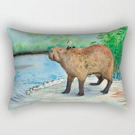 Capybara and friend Rectangular Pillow