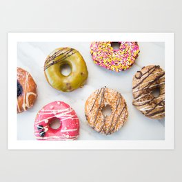 Colorful Donuts on Marble Art Print