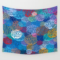 coral Wall Tapestries featuring Coral by Helene Michau