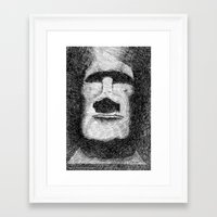 island Framed Art Prints featuring Easter island - Moai statue - Ink by Nicolas Jolly