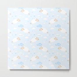 Cute Sheep Sleeping on blue Metal Print