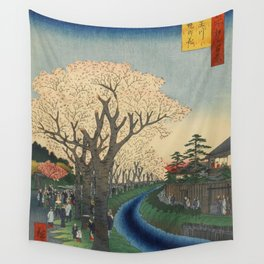 Spring Cherry Trees Blossoms Ukiyo-e Japanese Art Wall Tapestry