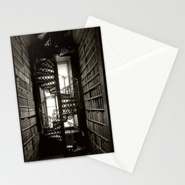 Trinity College, Dublin, Ireland, iron spiral stairs in Library College Long Room black and white photograph Stationery Cards