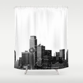 Dallas Texas Skyline in Black and White Shower Curtain