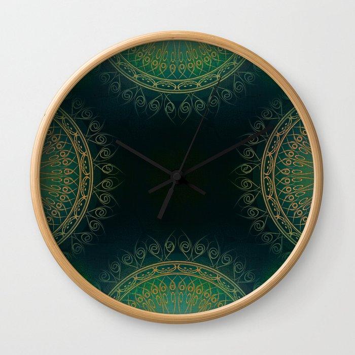 """Dark Clover Green & Gold Mandala Deluxe"" Wall Clock"