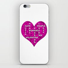 Hot Pink Marble Heart With Words iPhone & iPod Skin