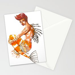 July Ruby Lionfish Mermaid Stationery Cards