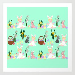 Easter pattern with babies, bunnies, eggs and daffodils Art Print