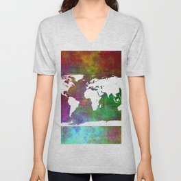 WORLD MAP #society6 Unisex V-Neck