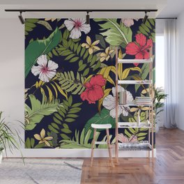 Tropical Island Oasis Floral Pattern Wall Mural