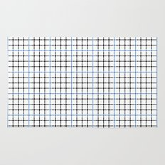 Dotted Grid Weave Blue Black Rug