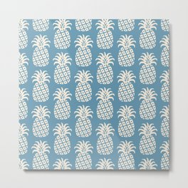 Mid Century Modern Pineapple Pattern Beige Blue Metal Print