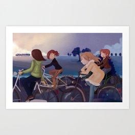 Riding to school Art Print