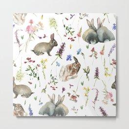 Bunnies And Wildflowers Watercolor  Meadow  Metal Print