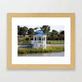 Blue And White Gazebo Framed Art Print