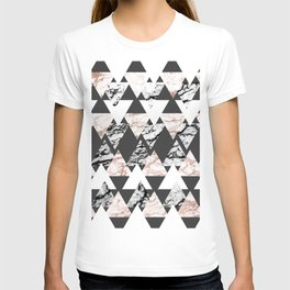 Modern Black White Rose Gold Marble Geo Triangles T-shirt
