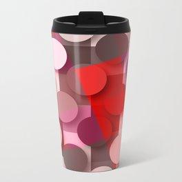dots & squares red Metal Travel Mug