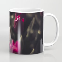 White tulip in field of red tulips, top view photography print, the Netherlands Coffee Mug