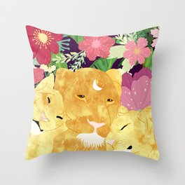 A Sincere Promise I Made To Myself, To Be Your Lioness When Things Are Messed #painting Throw Pillow