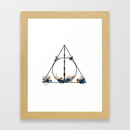 Deathly Hallows in Blue and Brown Framed Art Print