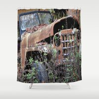 jeep Shower Curtains featuring Vintage Jeep by Victoria Rushie