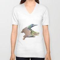 crocodile V-neck T-shirts featuring Crocodile by Jeanne Hollington
