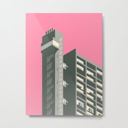 Trellick Tower London Brutalist Architecture - Pink Metal Print