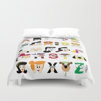 60s Duvet Covers featuring Child of the 60s Alphabet by Mike Boon