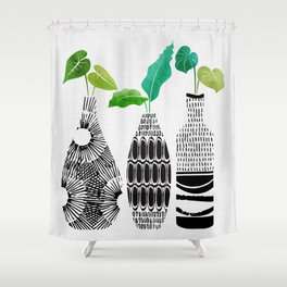 Black and White Tribal Vases Shower Curtain
