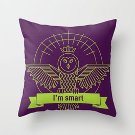 smart owl 1 Throw Pillow