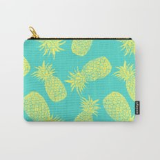 Pineapple Pattern - Turquoise & Lemon Carry-All Pouch