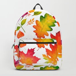 Fall Leaves Watercolor - White Backpack
