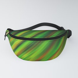 Colorful neon green brush strokes on dark gray Fanny Pack