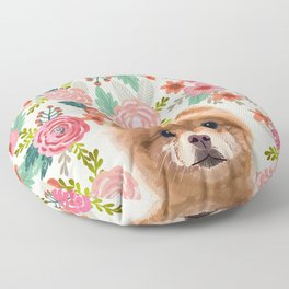 Pomeranian floral dog portrait cute art gifts for dog breed pom lovers Floor Pillow