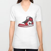 chicago bulls V-neck T-shirts featuring Jordan 1 OG (Chicago) by Pancho the Macho