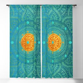 """Turquoise and Gold Mandala"" Blackout Curtain"