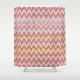 Geometric Chevron: Marble, Gold, Blush Pink Shower Curtain