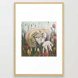 Mama Sheep and baby lamb, I'll stand by Ewe, field of tulips, whimsical nature art Framed Art Print