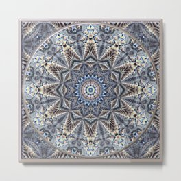 Mandala 1 - Bluegrey Breeze Metal Print