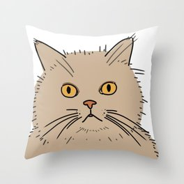 Fat brown cat staring Throw Pillow
