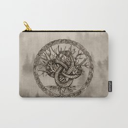 Ouroboros Celtic Knot with Tree of Life Sepia Carry-All Pouch