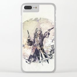 Jack Sparrow with double pistols Clear iPhone Case