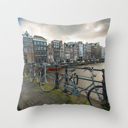 Locked Bikes on a Canal Throw Pillow