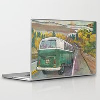 vw bus Laptop & iPad Skins featuring VW Bus on Mountain Road by Barb Laskey Studio